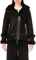 Drome Shearling-trim leather biker jacket