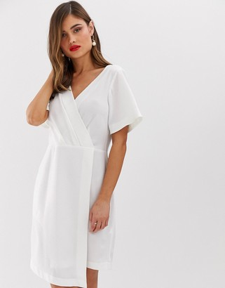 Closet London wrap front mini shift dress in white