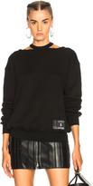Unravel Cotton Cashmere Cut Out Crewneck Sweatshirt in Black.