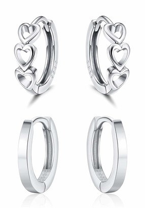 Milacolato 2 Pairs 925 Sterling Silver Small Hoop Earrings Cartilage Tiny Cute Heart Huggie Earrings for Women