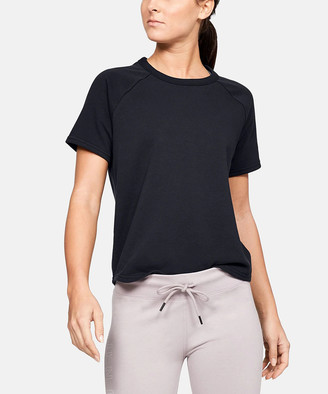Under Armour Women's Tee Shirts Black - Black French Terry Cutout Tee - Women