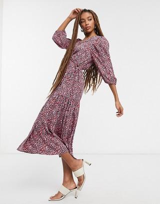 Topshop printed kimono wrap dress in mono
