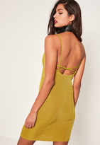 Missguided Chartreuse Green Cross Back Cowl Neck Slinky Dress
