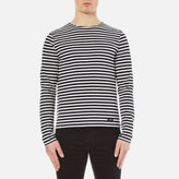 Ami Men's Crew Neck Breton Long Sleeve TShirt - Navy/White