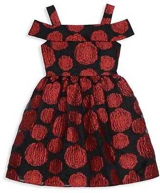 Belle By Badgley Mischka Girl's Off-The-Shoulder Rose Jacquard Dress