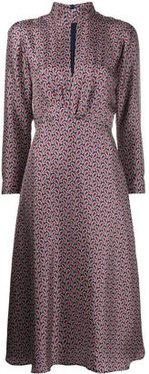 Sandro Paisley Print Flared Silk Dress