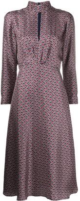 Sandro Paris Paisley Print Flared Silk Dress