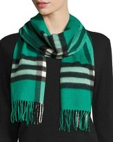 Burberry Giant Check Cashmere Scarf, Emerald