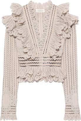 Zimmermann Ruffled Crocheted Ramie-blend Blouse