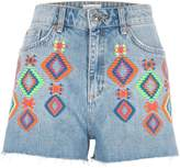 River Island Womens Blue authentic neon embroidered denim shorts