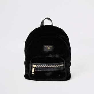 River Island Black faux fur mini backpack