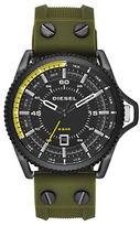 Diesel Rollcage Black IP Stainless Steel and Green Silicone Strap Watch, DZ1758