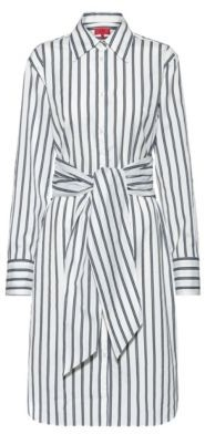 HUGO BOSS - Striped Shirt Dress With Tie Up Belt - Open Blue