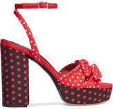 Tabitha Simmons Jodie Bow-embellished Polka-dot Twill Platform Sandals - Red