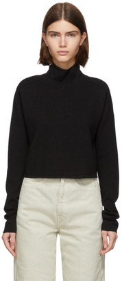 Helmut Lang Black Wool Compact Turtleneck