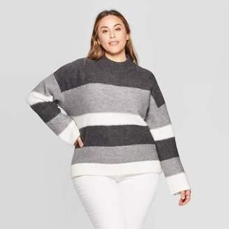 Universal Thread Women's Plus Size Striped Long Sleeve Mock Turtleneck Pullover Sweater - Universal ThreadTM Gray