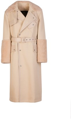 Mr & Mrs Italy Elizabeth Sulcers Capsule Cotton Drill, Shearling And Leather Trench For Woman
