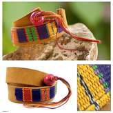 Hand Crafted Central American Leather Cotton Wrap Bracelet, 'Jaguar Amulet'