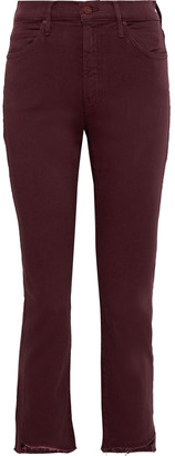 Mother The Rascal Cropped Frayed High-rise Skinny Jeans
