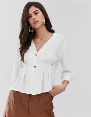 Vila button through waist detail blouse in cream