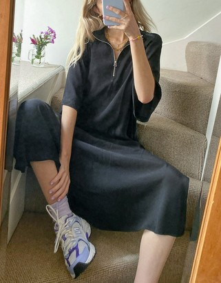 Weekday Phoebe high neck zip front midi dress in black