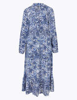 Marks and Spencer Floral V-Neck Shirred Waist Midi Dress