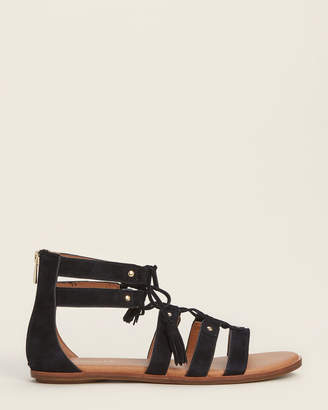 Aerosoles Black Lottery Ankle Strap Suede Sandals