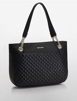 Calvin Klein Womens Quilted Leather Tote Bag Black/Gold
