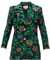 Gucci Single-breasted Floral-jacquard Velvet Jacket - Womens - Black Multi