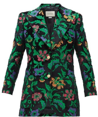 Gucci Single-breasted Floral-jacquard Velvet Jacket - Womens - Black Multi
