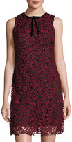 Taylor Sleeveless Embroidered Lace-Overlay Sheath Dress, Wine