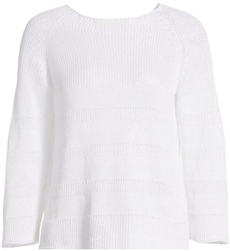 Piazza Sempione Pointelle Stripe Knit Linen-Blend Sweater