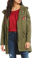 Steve Madden Embroidered Patch Cotton Anorak Jacket