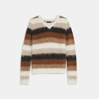 Theory Striped Alpaca V-Neck Sweater