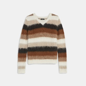 Theory V-Neck Sweater in Striped Alpaca Wool
