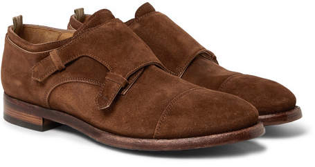 Officine Creative Princeton Suede Monk-strap Shoes - Brown