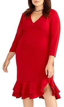Rachel Roy Plus Blake Ruffle Detail Sheath Dress