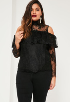 Missguided Plus Size Exclusive Black Lace Frill Top