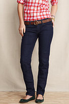 Lands' End Women's Pin Straight Indigo Jeans-Black Stripe