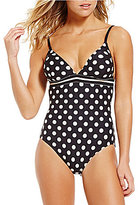 Kate Spade Polka Dot With Bow V-Neck One-Piece