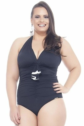 Lehona Backless Swimsuit w/ Padded Cups in Black Size 18