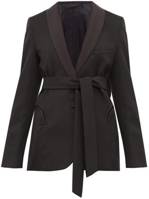 BLAZÉ MILANO Everyday Waist Tie Wool Blazer - Womens - Black