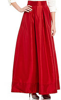 Sangria Taffeta Pleated Maxi Skirt