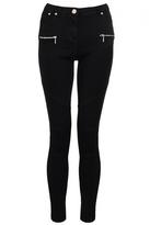 Quiz Black Zip Detail Biker Style Skinny Jeans