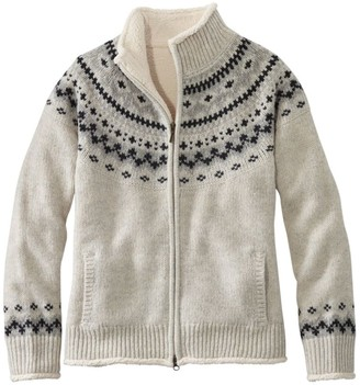 L.L. Bean Women's L.L.Bean Classic Ragg Wool Sweater, Sherpa-Lined Zip Cardigan Fair Isle