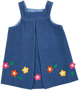 Florence Eiseman Floral-Trim Corduroy Jumper, Blue, Size 2-6