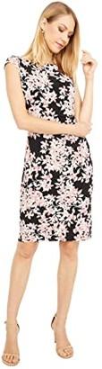 Lauren Ralph Lauren Novellina Cap Sleeve Day Dress (Black/Pink/Multi) Women's Dress
