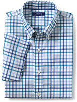 Lands' End Men's Big & Tall Short Sleeve Traditional Fit No Iron Sportshirt-Bright Cyan Gingham