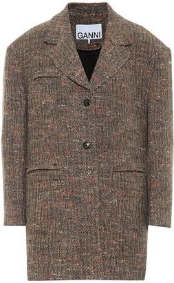 Ganni Wool-blend tweed jacket