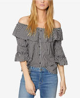 Sanctuary Avery Cotton Gingham Off-The-Shoulder Top
